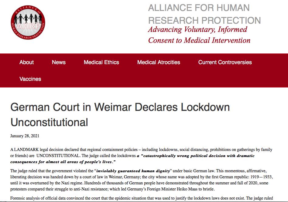 German Court in Weimar Rules Lockdowns Unconstitutional