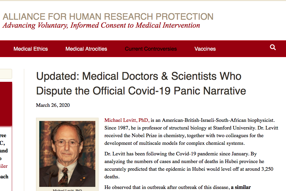 Alliance for Human Research Protection - DOCTORS & Scientists Disputing the Covid-19 Panic Narrative