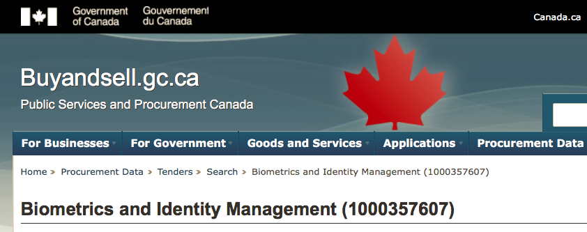 Biometrics & Identity Management  - Notice of Proposed Procurement (NPP) by the Government of Canada